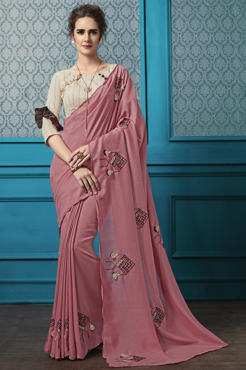 Georgette Fabric Pink Thread Embroidered Party Style Saree