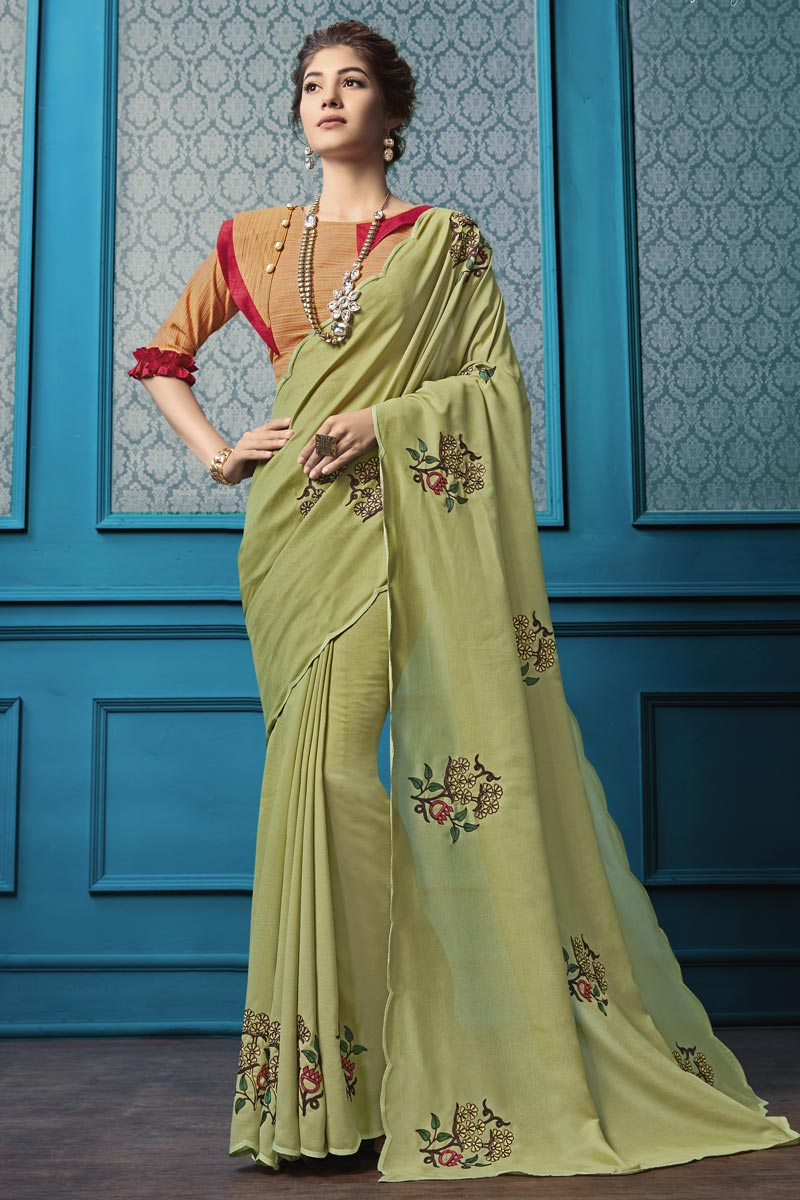 Party Style Georgette Fabric Beige Thread Embroidered Saree