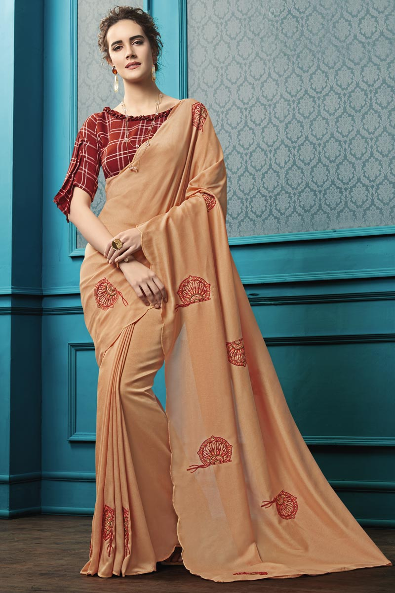Georgette Fabric Party Style Thread Embroidered Saree In Peach