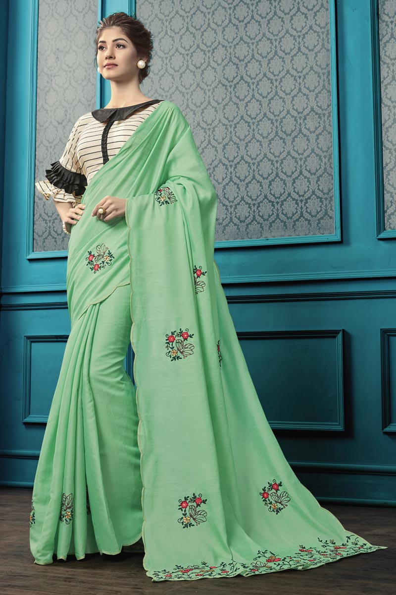 Thread Embroidered Sea Green Party Style Georgette Fabric Saree
