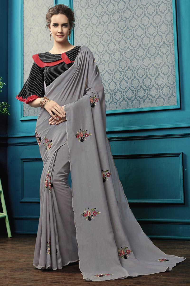 Grey Party Style Georgette Fabric Thread Embroidered Saree