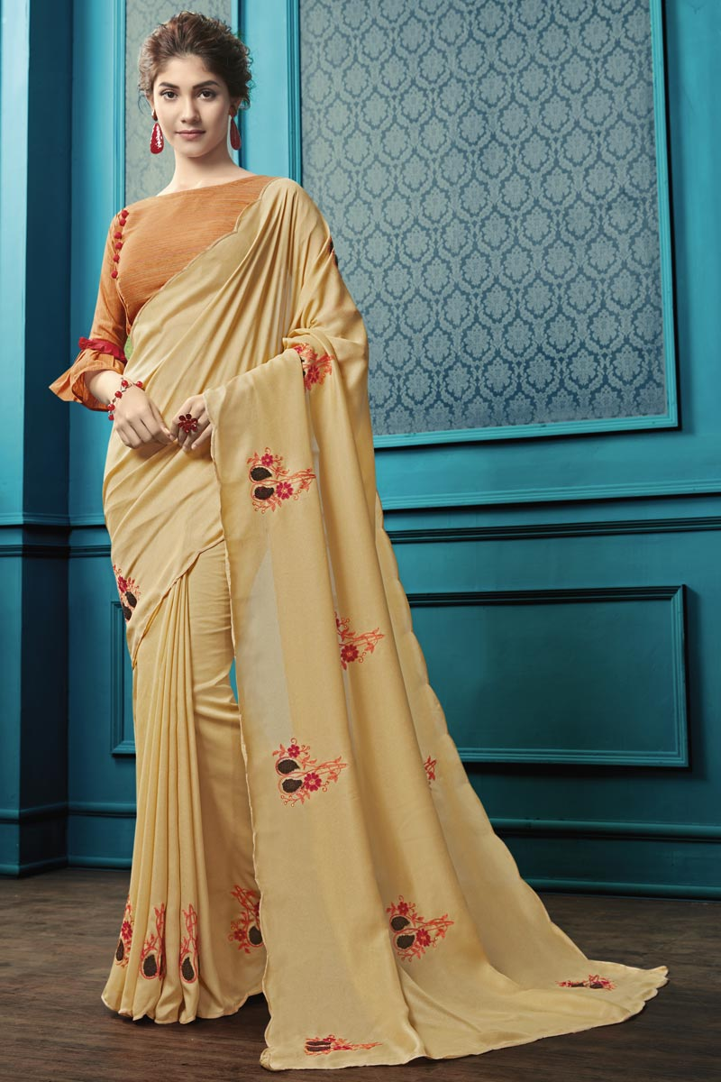 Party Style Georgette Fabric Thread Embroidered Saree In Beige