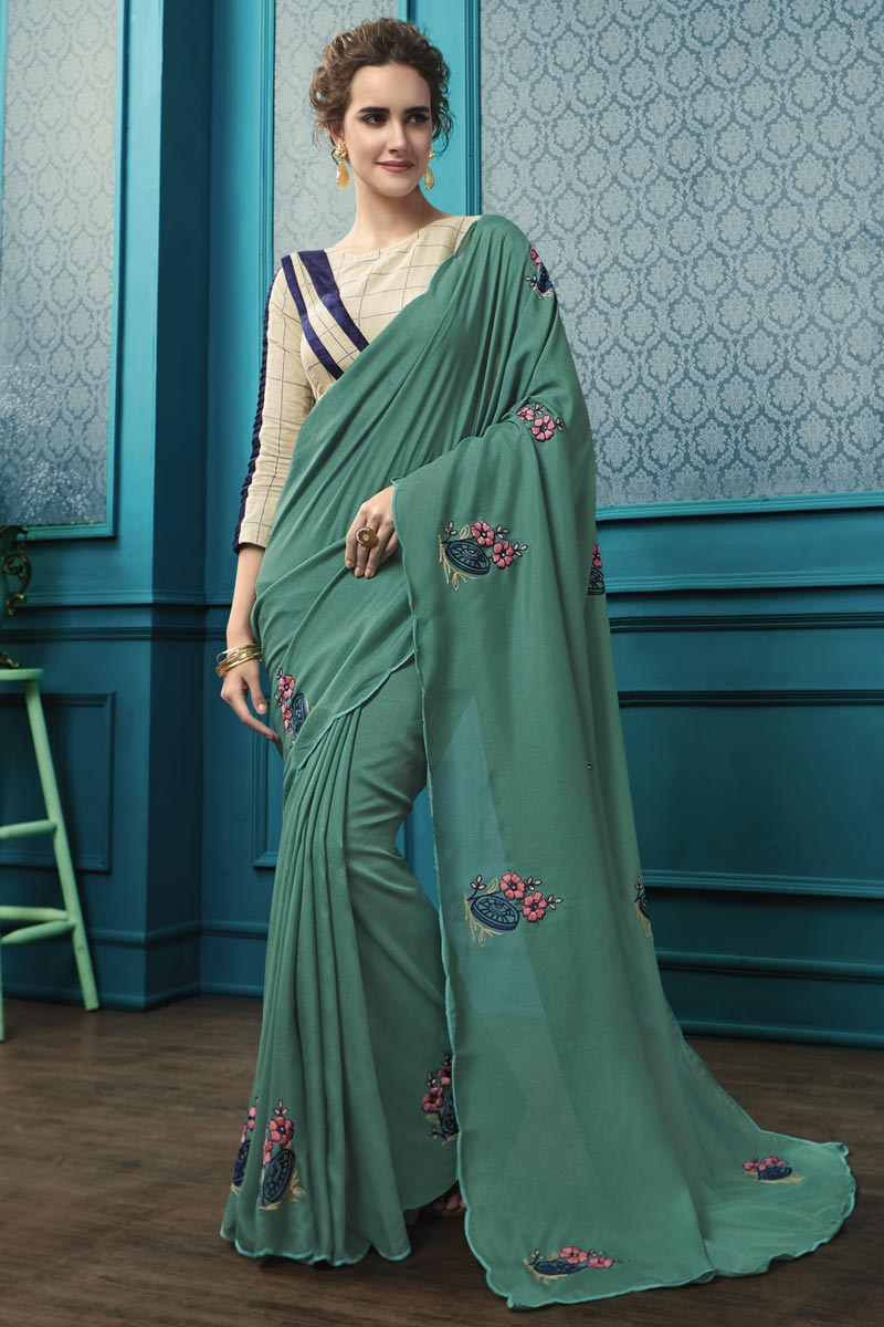 Cyan Georgette Fabric Thread Embroidered Party Style Saree