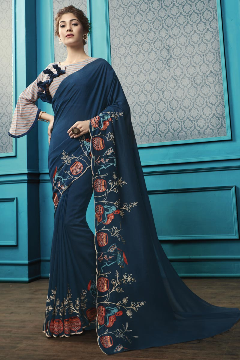 Party Style Navy Blue Georgette Fabric Thread Embroidered Saree