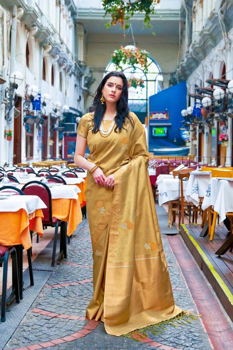 Art Silk Fabric Beige Festive Wear Fancy Weaving Work Saree