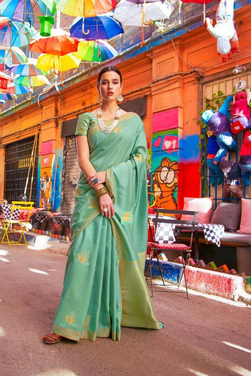 Art Silk Fabric Festive Wear Sea Green Fancy Weaving Work Saree