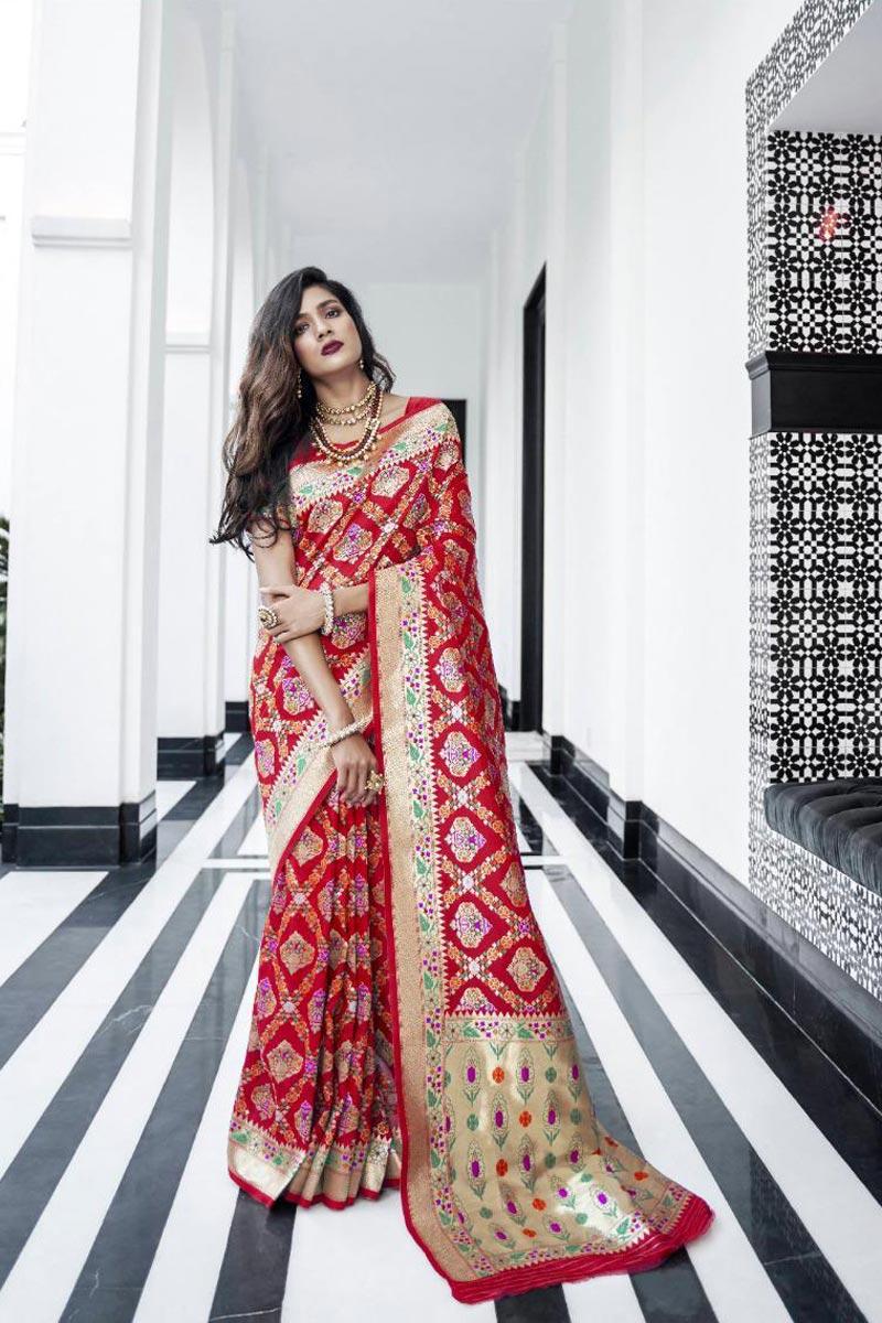 Trendy Art Silk Function Wear Red Weaving Work Saree
