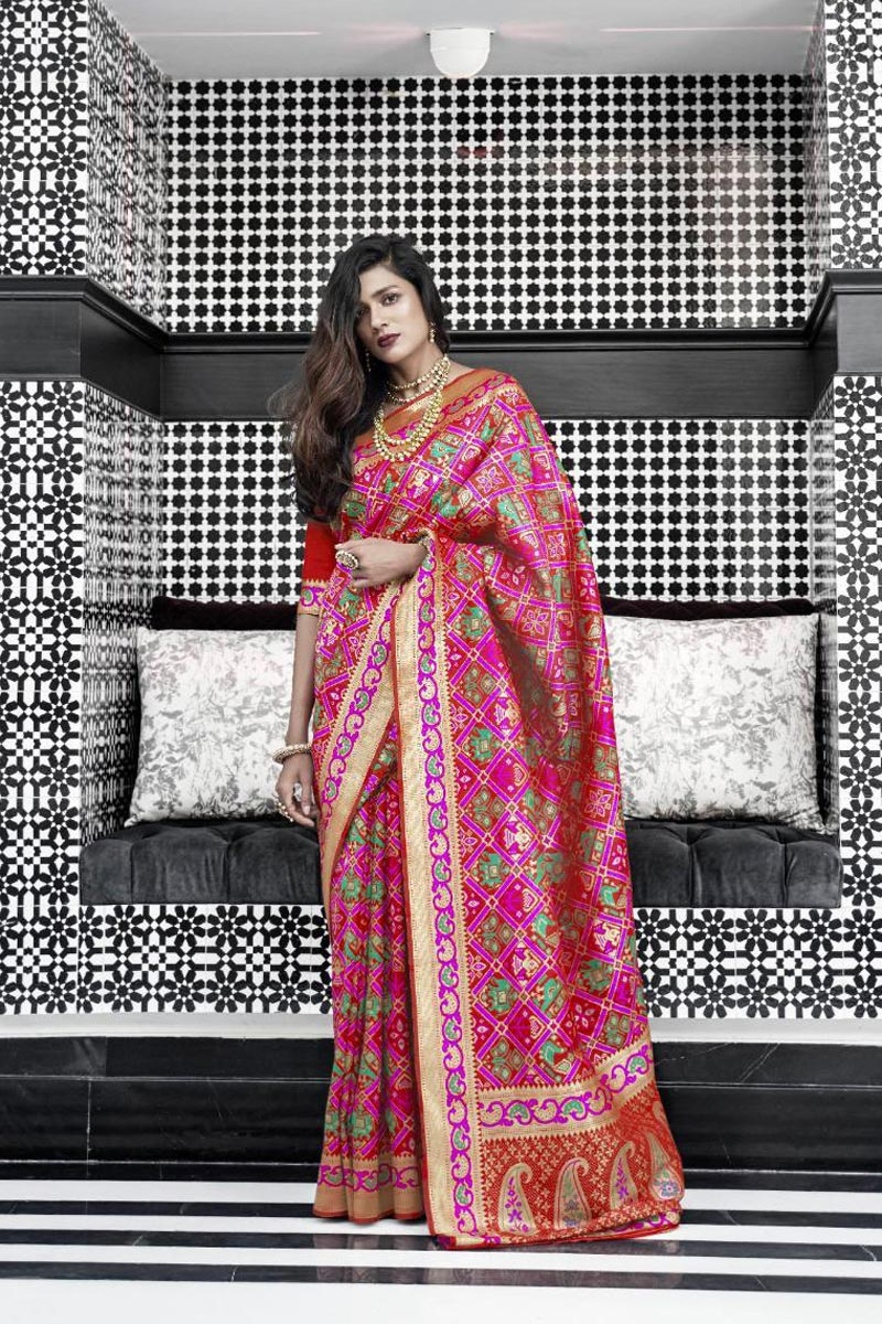 Trendy Function Wear Rani Color Art Silk Weaving Work Saree