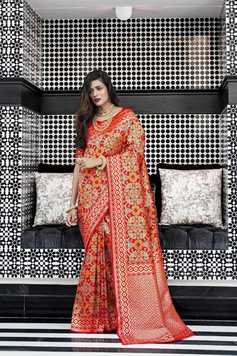 Trendy Art Silk Red Function Wear Weaving Work Saree