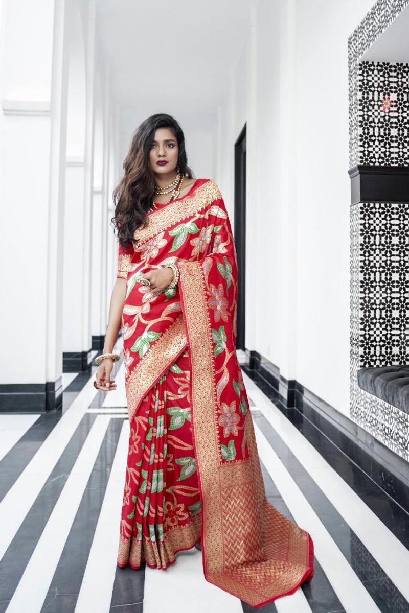 Function Wear Trendy Red Weaving Work Saree In Art Silk