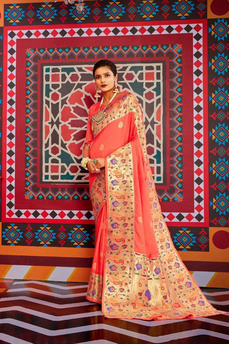 Peach Color Stylish Sangeet Wear Art Silk Fabric Weaving Work Saree