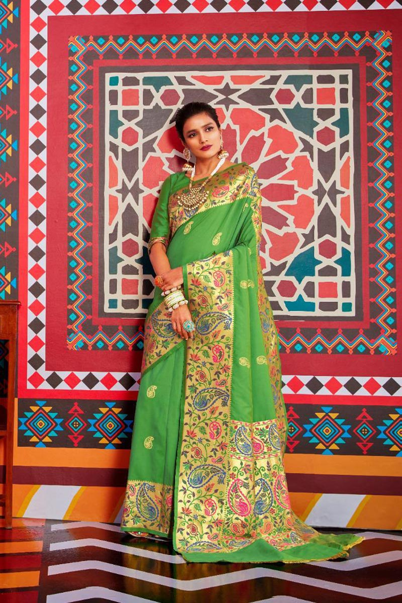Sangeet Wear Art Silk Fabric Stylish Green Color Weaving Work Saree