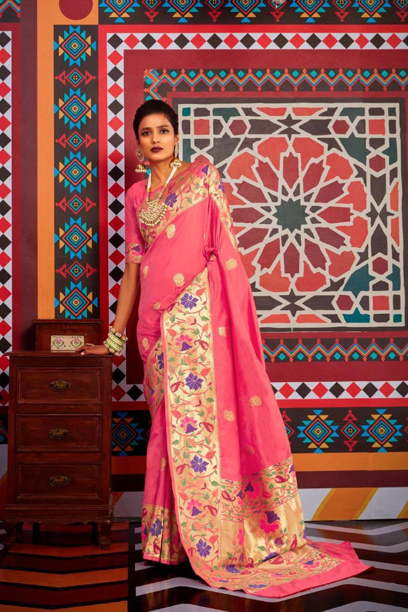 Sangeet Wear Pink Color Stylish Weaving Work Saree In Art Silk Fabric