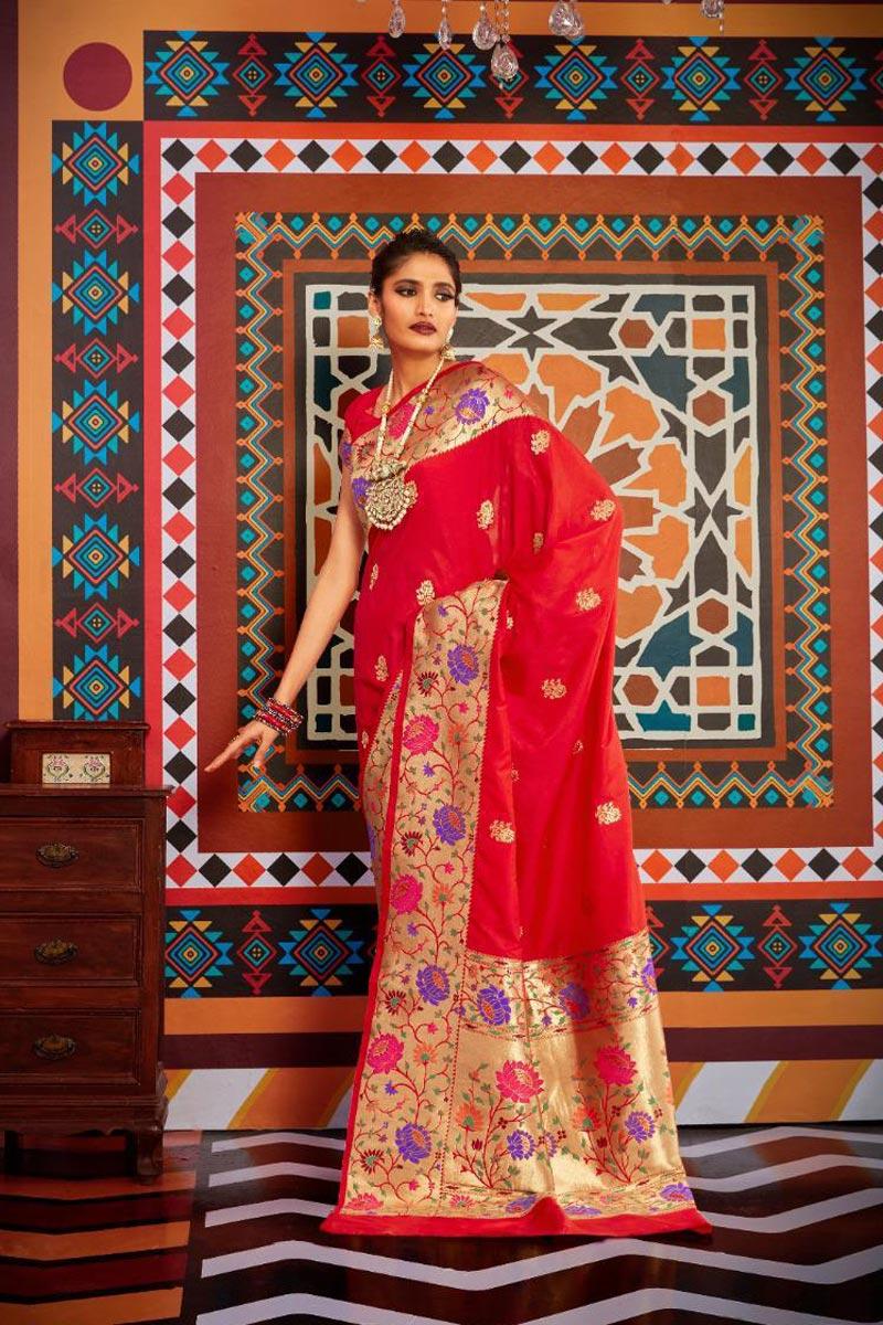 Sangeet Wear Art Silk Fabric Stylish Red Color Weaving Work Saree