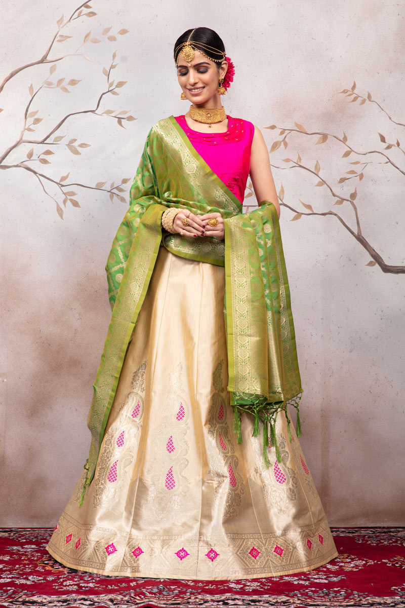 Jacquard Cream Color Reception Wear Lehenga Choli With Banarasi Dupatta