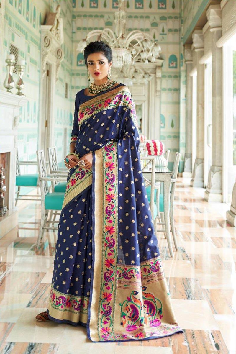 Art Silk Occasion Wear Fancy Navy Blue Saree With Weaving Work