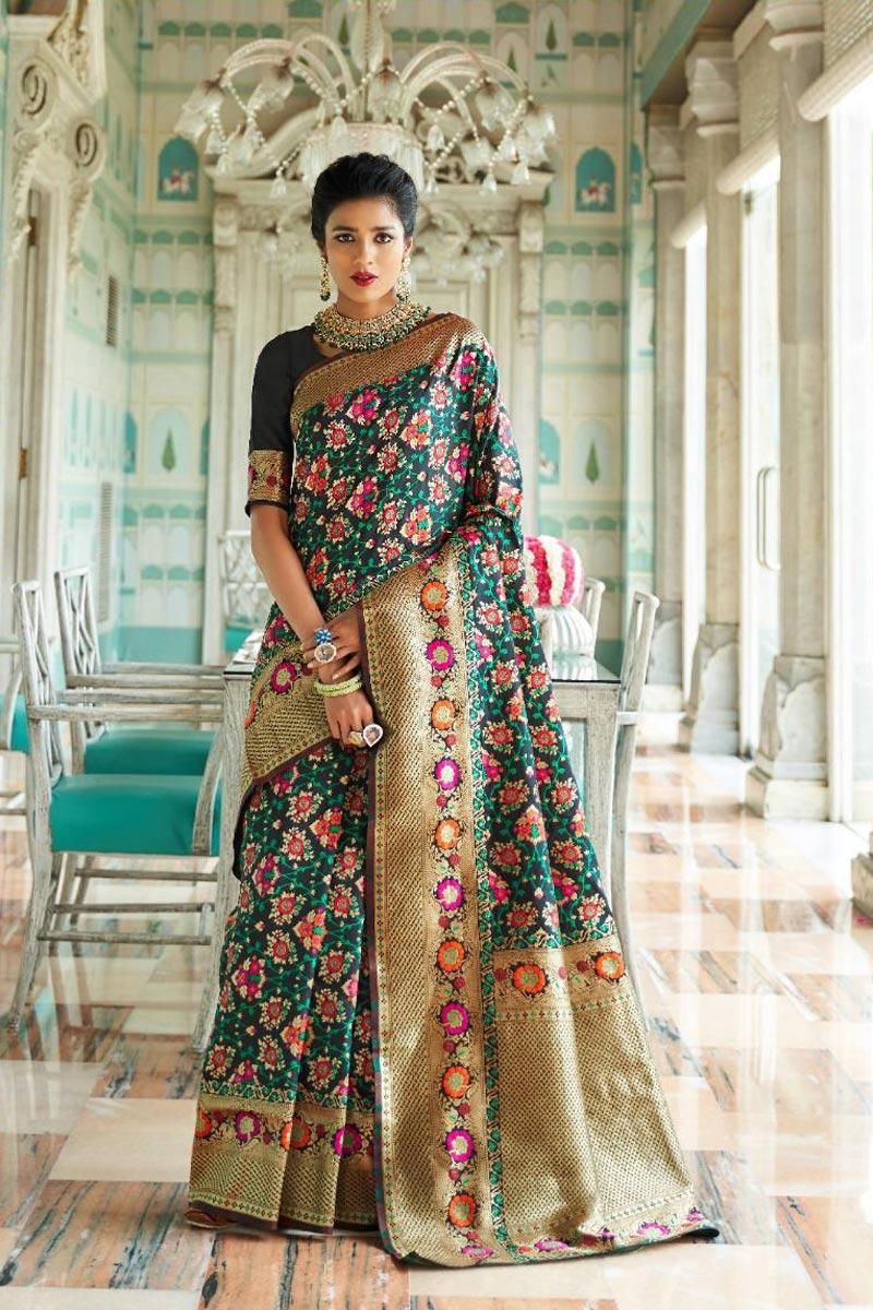 Fancy Occasion Wear Art Silk Saree In Black With Weaving Work