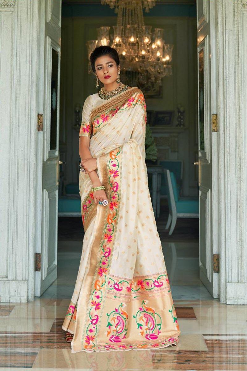 Art Silk Occasion Wear Fancy Off White Saree With Weaving Work
