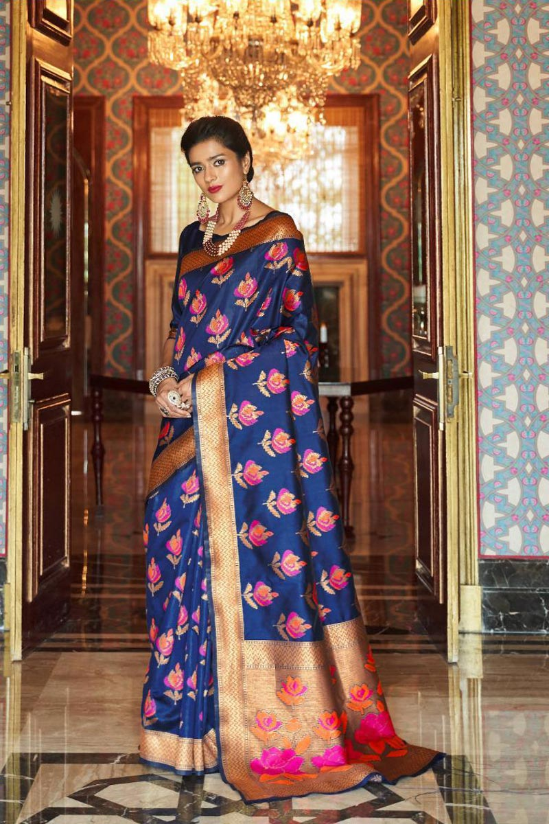 Occasion Wear Fancy Art Silk Saree In Navy Blue With Weaving Work