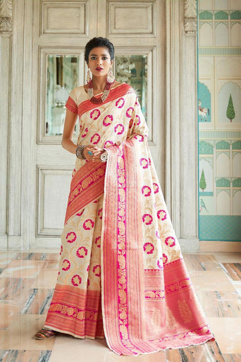 Occasion Wear Art Silk Fancy Weaving Work Saree In Beige