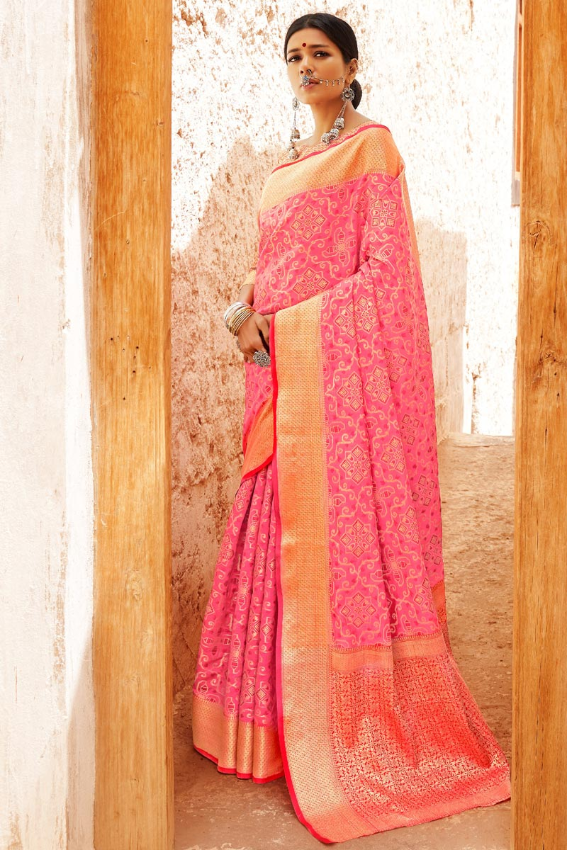 Art Silk Pink Designer Weaving Work Party Style Saree