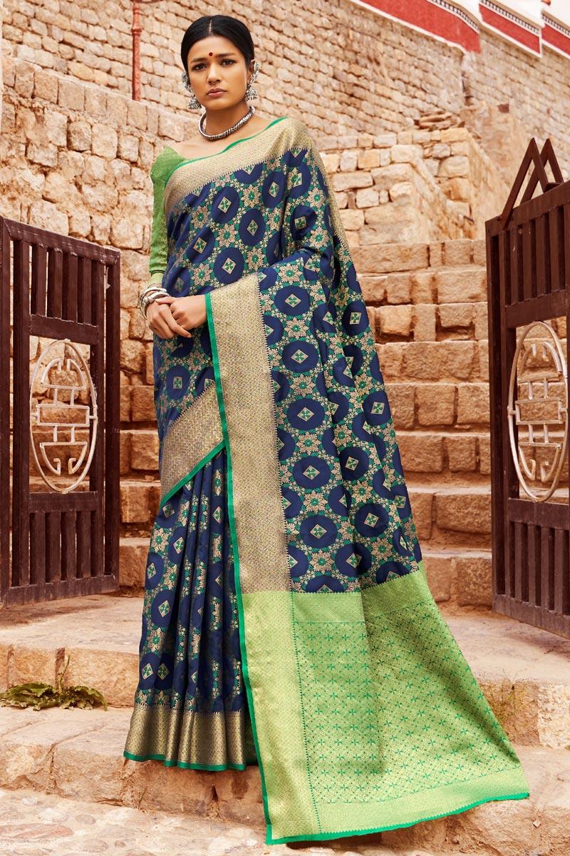 Party Style Art Silk Navy Blue Designer Weaving Work Saree