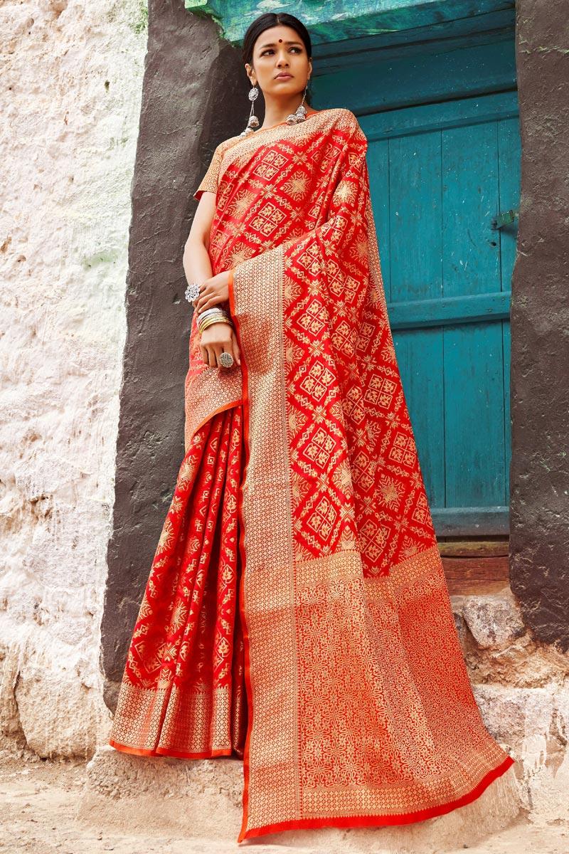 Art Silk Party Style Designer Weaving Work Saree In Red