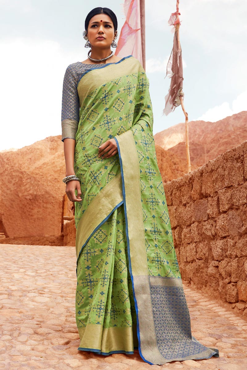 Designer Weaving Work Sea Green Party Style Art Silk Saree