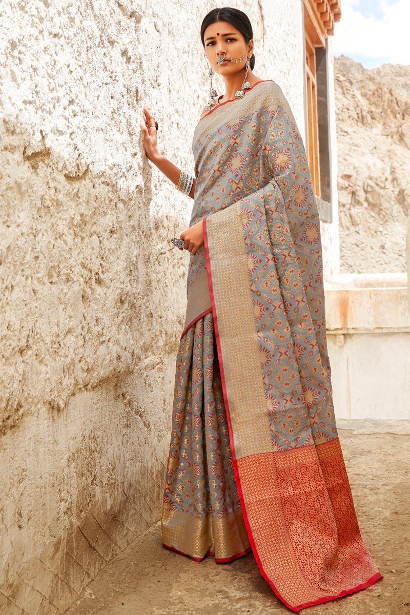 Grey Party Style Art Silk Designer Weaving Work Saree