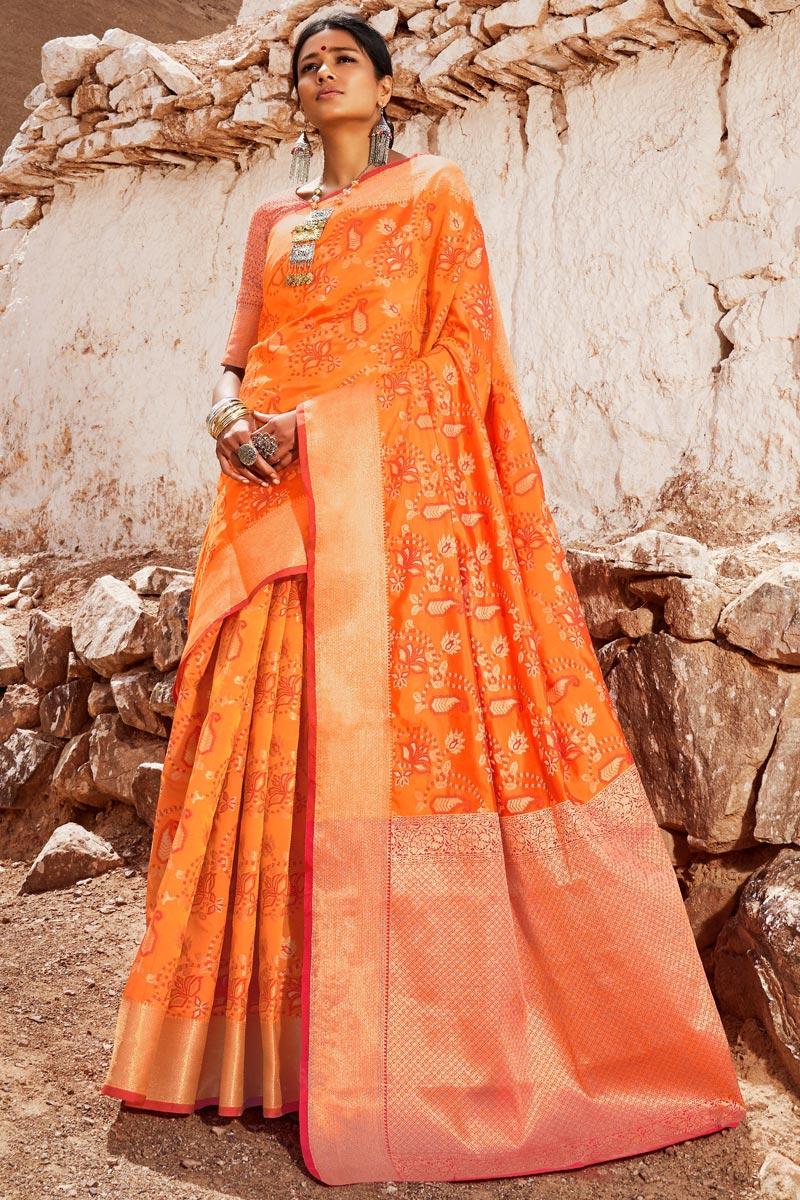 Party Style Art Silk Designer Weaving Work Saree In Orange