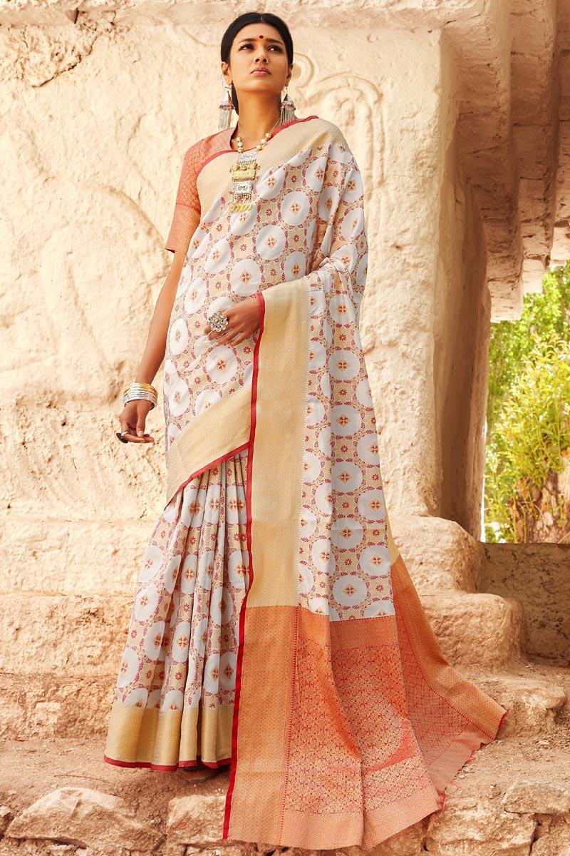 Off White Party Style Designer Weaving Work Saree In Art Silk