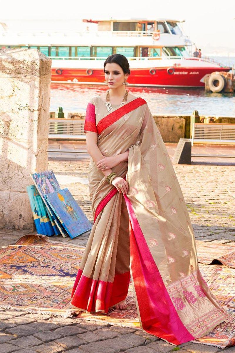 Cream Festive Wear Stylish Weaving Work Art Silk Saree