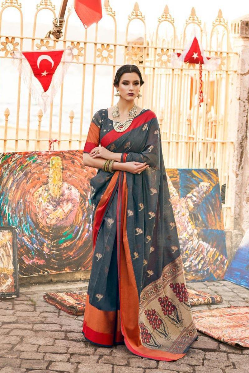 Festive Wear Grey Art Silk Stylish Weaving Work Saree