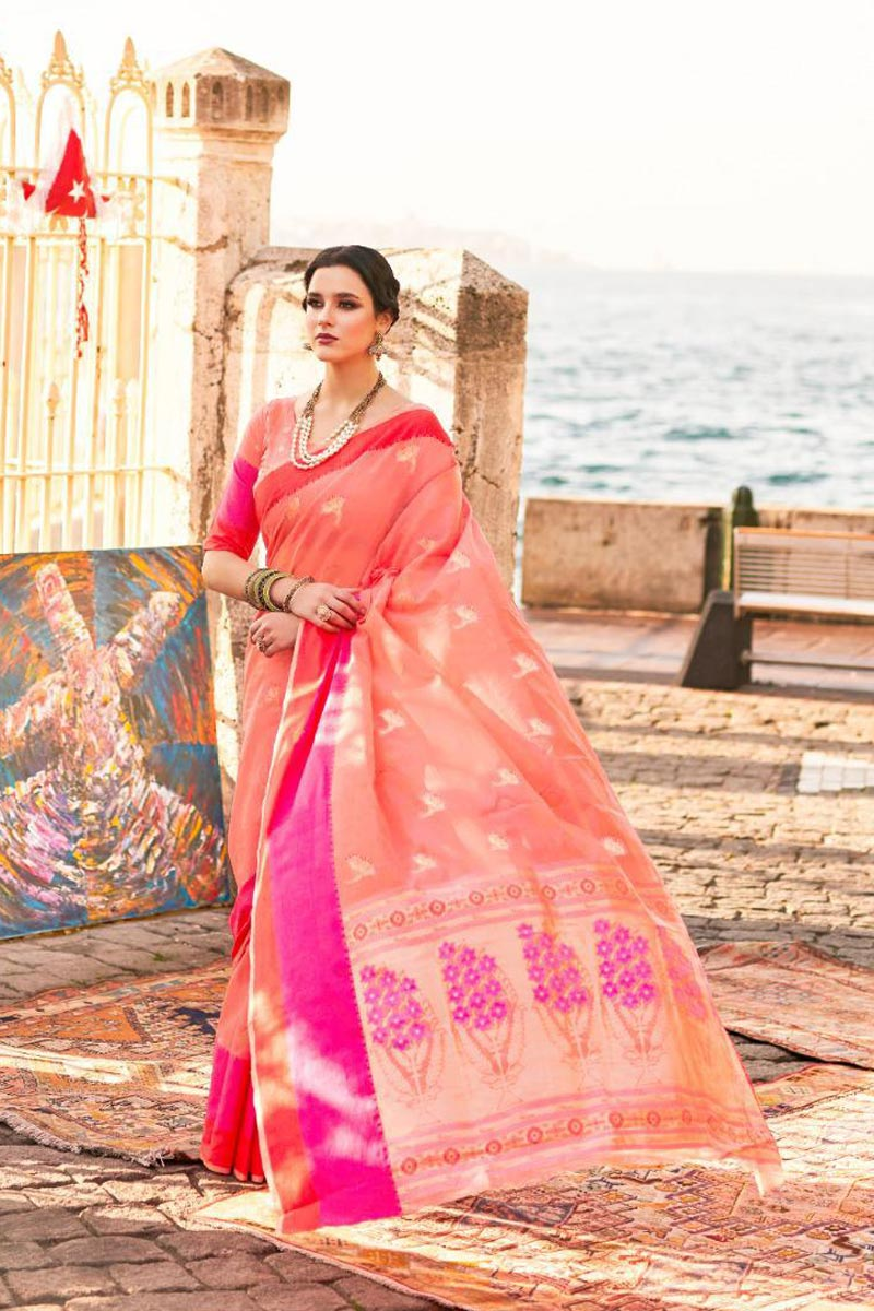Festive Wear Art Silk Stylish Weaving Work Saree In Peach