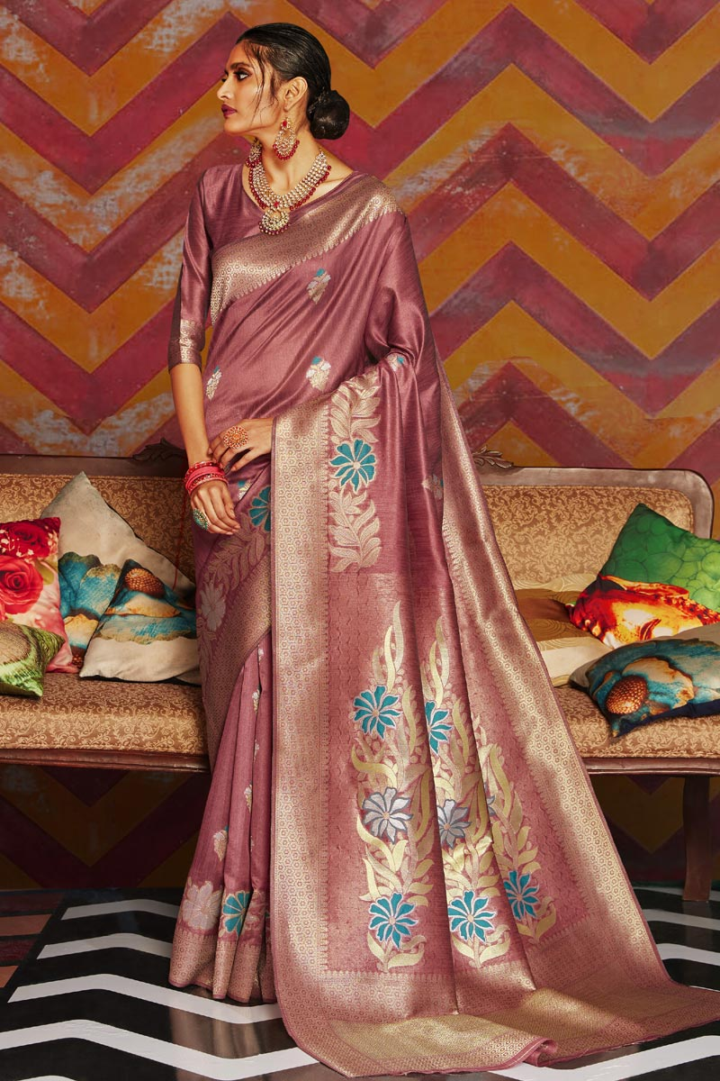 Art Silk Fabric Party Wear Stylish Pink Color Weaving Work Saree