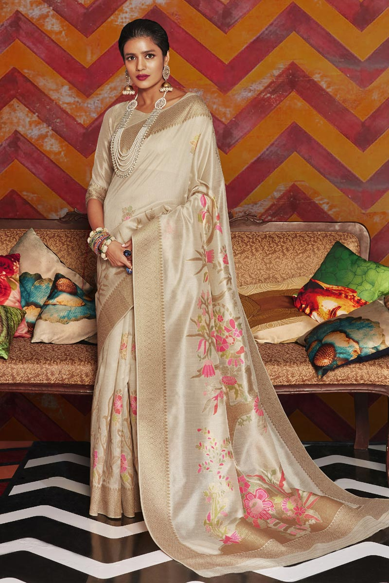 Art Silk Fabric Party Wear Stylish Beige Color Weaving Work Saree