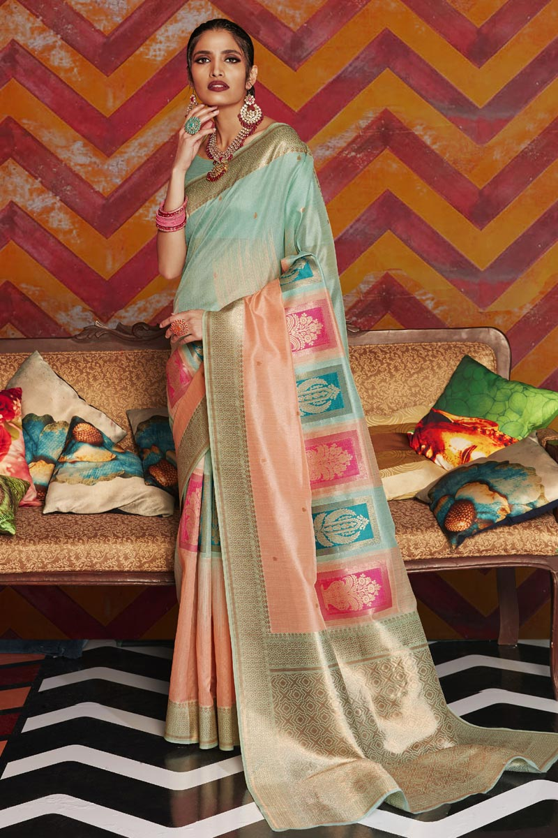 Party Wear Art Silk Fabric Stylish Weaving Work Saree In Peach Color