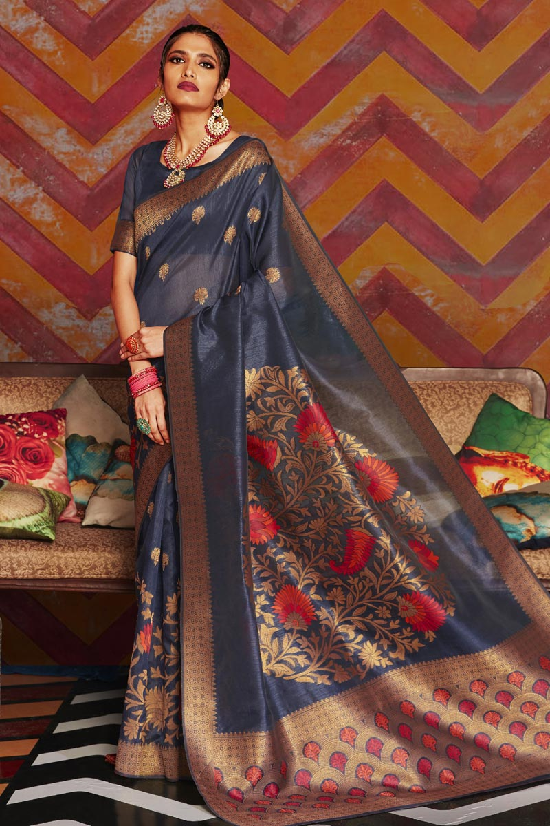 Navy Blue Color Party Wear Art Silk Fabric Stylish Weaving Work Saree