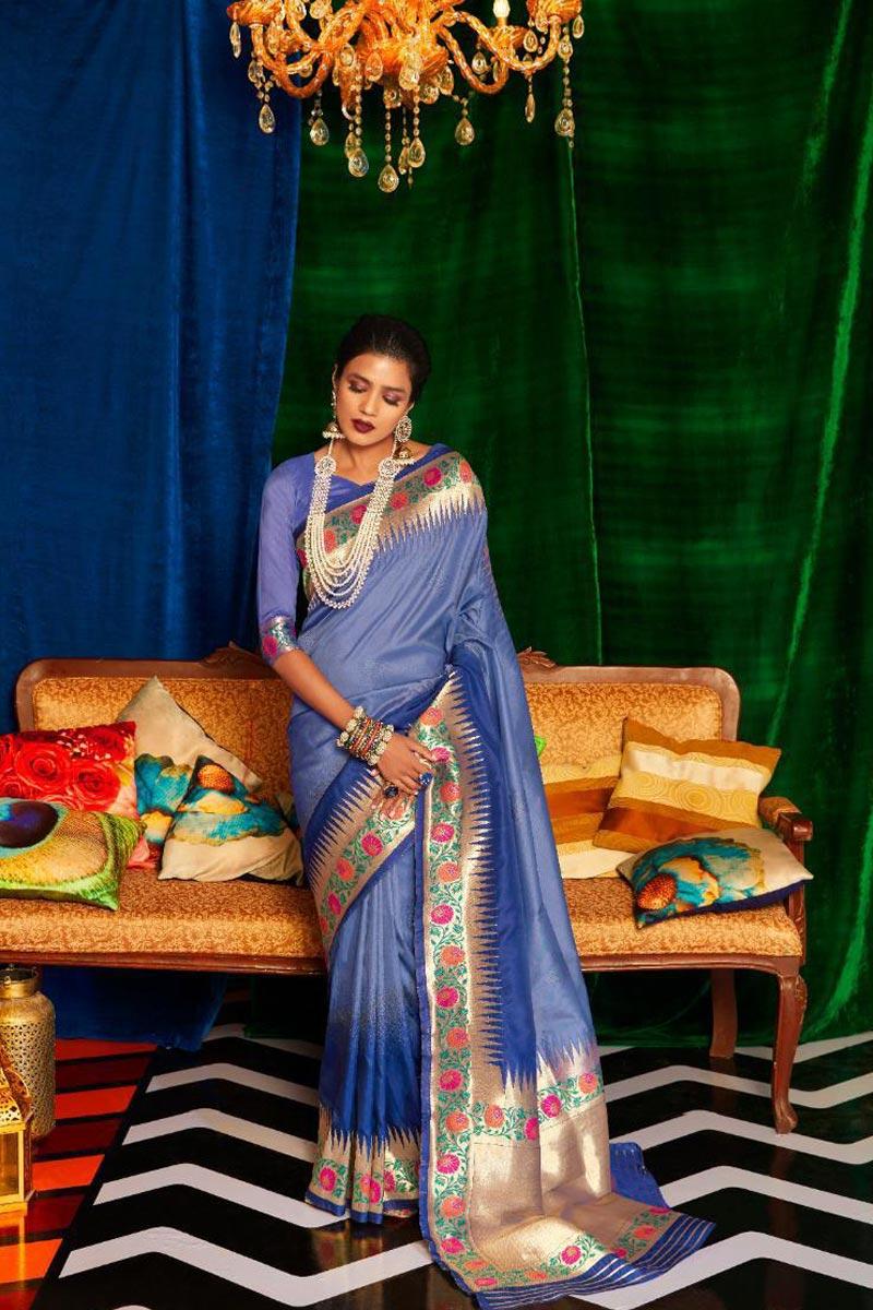 Art Silk Fabric Occasion Wear Designer Blue Color Weaving Work Saree