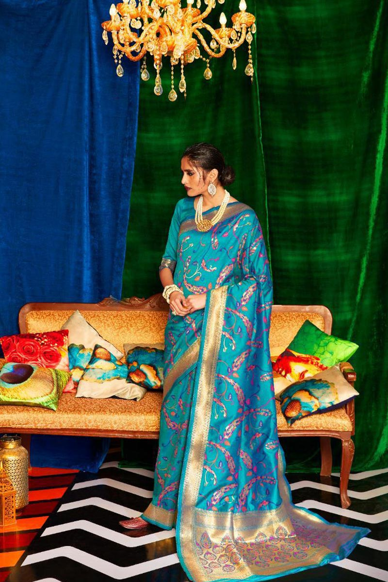 Occasion Wear Cyan Color Designer Art Silk Fabric Weaving Work Saree