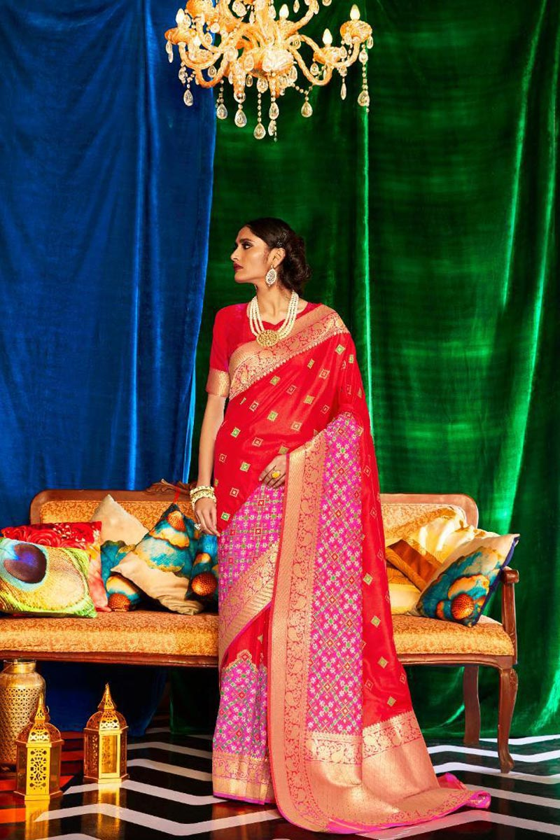 Occasion Wear Art Silk Fabric Designer Weaving Work Saree In Red Color