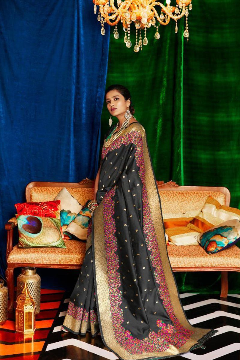 Black Color Occasion Wear Designer Art Silk Fabric Weaving Work Saree