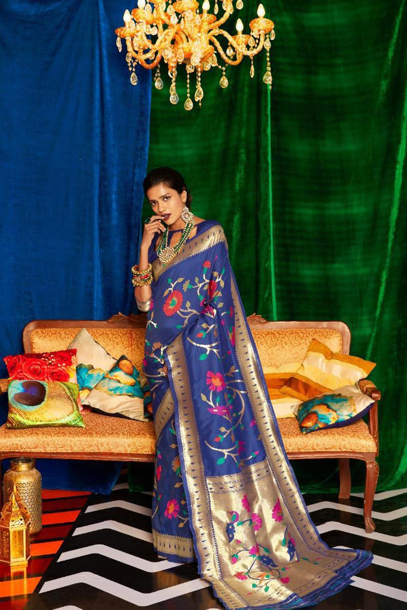 Navy Blue Color Occasion Wear Designer Art Silk Fabric Weaving Work Saree