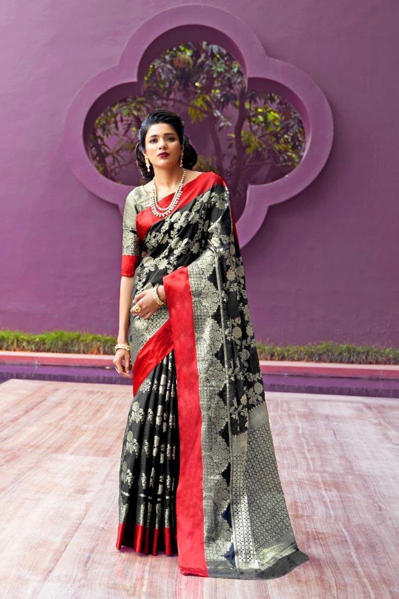 Art Silk Fabric Puja Wear Black Designer Weaving Work Saree