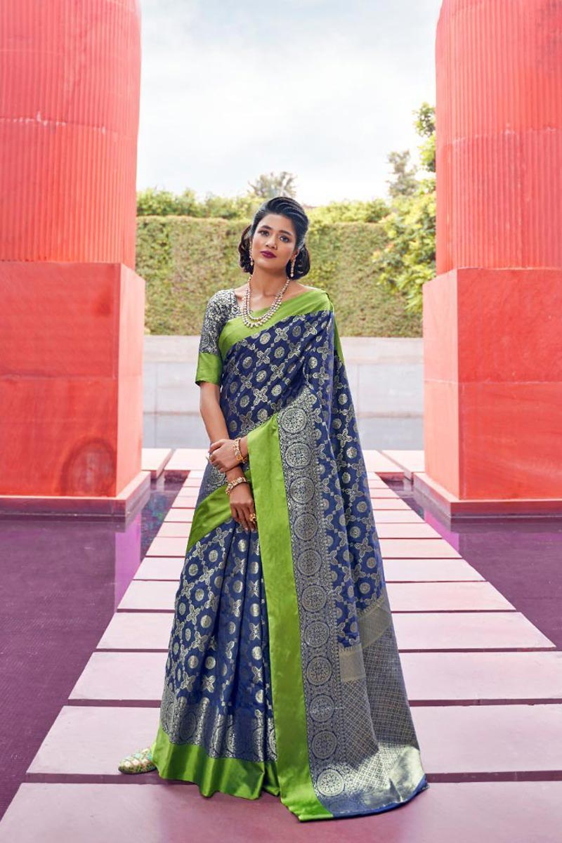 Designer Puja Wear Art Silk Fabric Weaving Work Saree In Navy Blue