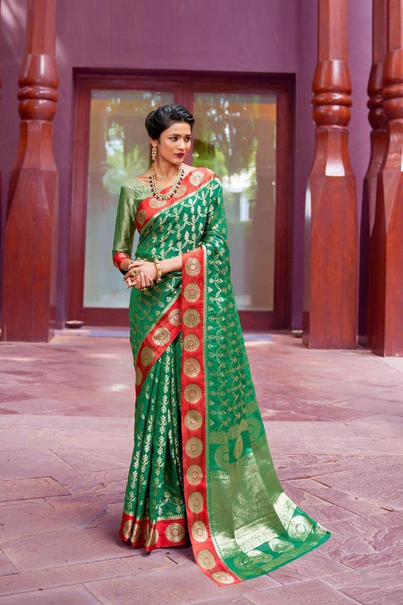 Dark Green Puja Wear Designer Weaving Work Saree In Art Silk Fabric