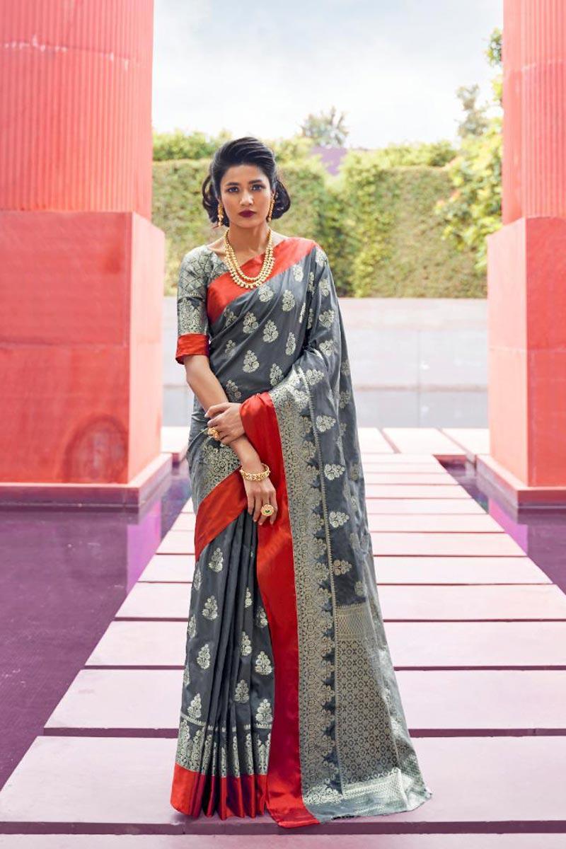 Puja Wear Art Silk Fabric Grey Designer Weaving Work Saree