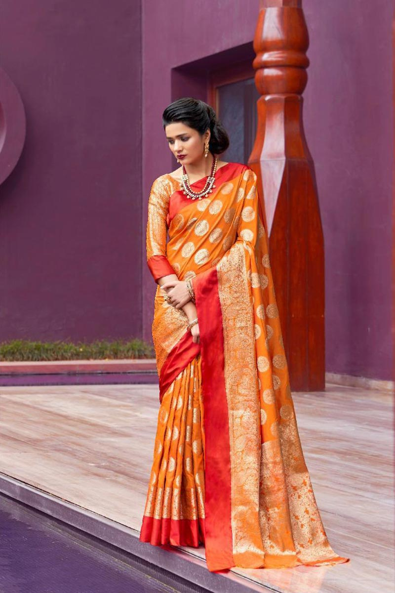 Orange Puja Wear Art Silk Fabric Designer Weaving Work Saree