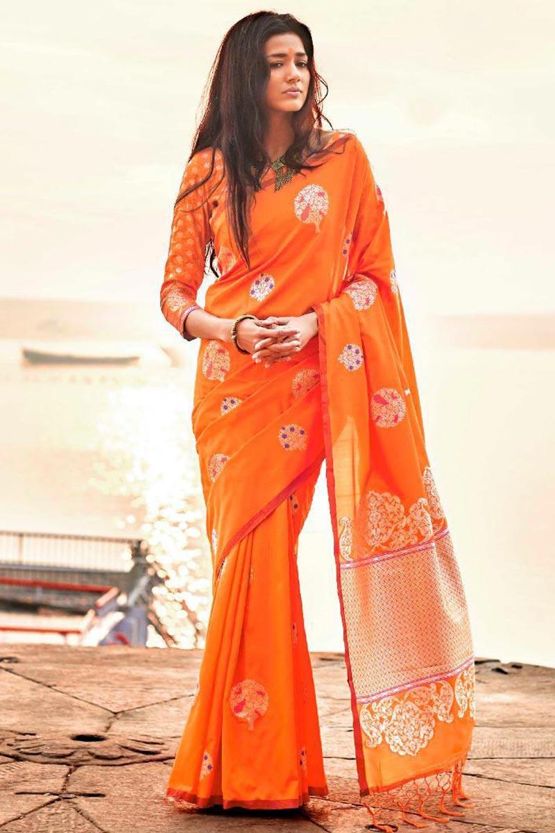 Pleasing Art Silk Party Wear Designer Orange Saree With Weaving Work