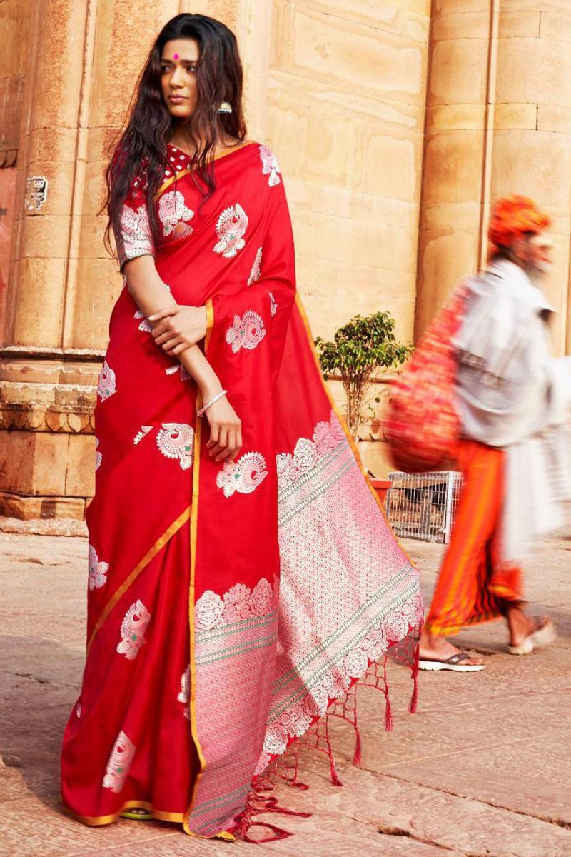 Mesmeric Art Silk Red Party Wear Saree With Weaving Work